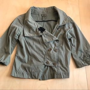 Anthro Fei Olive Green Cropped Embroidered Jacket